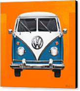 Volkswagen Type 2 - Blue And White Volkswagen T 1 Samba Bus Over Orange Canvas  Canvas Print by Serge Averbukh