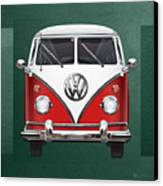 Volkswagen Type 2 - Red And White Volkswagen T 1 Samba Bus Over Green Canvas  Canvas Print