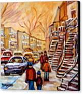 Winter Walk In Montreal Canvas Print