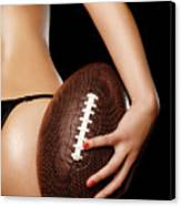 Woman With A Football Canvas Print