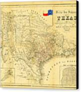 1849 Texas Map Canvas Print by Bill Cannon