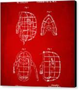 1878 Baseball Catchers Mask Patent - Red Canvas Print