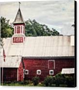 1886 Red Barn Canvas Print by Lisa Russo