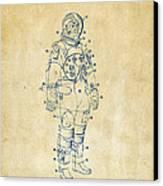 1973 Astronaut Space Suit Patent Artwork - Vintage Canvas Print