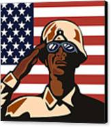 American Soldier Saluting Flag Canvas Print