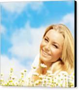 Beautiful Woman Enjoying Daisy Field And Blue Sky Canvas Print