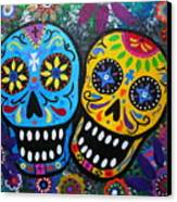 Couple Day Of The Dead Canvas Print by Pristine Cartera Turkus