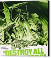 Destroy All Monsters, Aka Kaiju Canvas Print by Everett