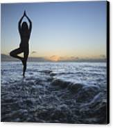 Female Doing Yoga At Sunset Canvas Print