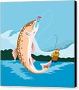 Fly Fisherman Catching Trout Canvas Print by Aloysius Patrimonio
