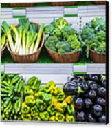 Fruits And Vegetables On A Supermarket Shelf Canvas Print by Deyan Georgiev