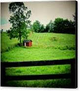 Shed And Fence Canvas Print by Michael L Kimble