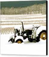 Tractor In Snowy Vineyard Canvas Print