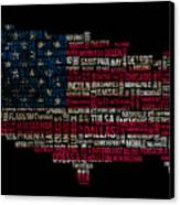 Usa Main Cities Flag Map Canvas Print by Cedric Darrigrand