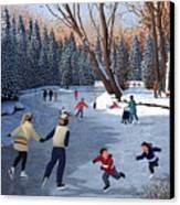 Winter Fun At Bowness Park Canvas Print