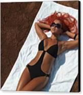 Woman Sunbathing Canvas Print