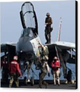 An F-14d Tomcat On The Flight Deck Canvas Print by Gert Kromhout