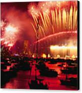 20 Tons Of Fireworks Explode Canvas Print by Annie Griffiths