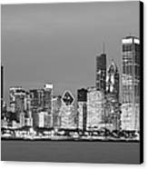 2010 Chicago Skyline Black And White Canvas Print by Donald Schwartz