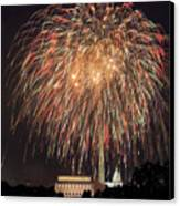 Fireworks Over Washington Dc On July 4th Canvas Print