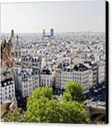 Gargoyle Guarding The Notre Dame Basilica In Paris Canvas Print by Pierre Leclerc Photography