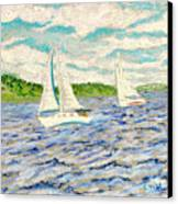 Sailing On Casco Bay Canvas Print by Collette Hurst