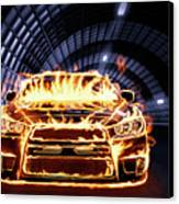 Sports Car In Flames Canvas Print