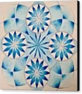 4 Blue Flowers Mandala Canvas Print