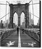 Nyc Brooklyn Bridge Canvas Print by Nina Papiorek