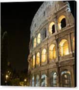 Coliseum Illuminated At Night. Rome Canvas Print