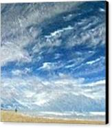 A Buffeting On The Beach Canvas Print by Wu Wei