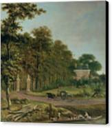A Country House Canvas Print by J Hackaert
