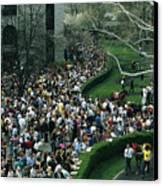 A Crowd Gathers Around Keenelands Canvas Print