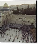 A Crowd Gathers Before The Wailing Wall Canvas Print by James L. Stanfield