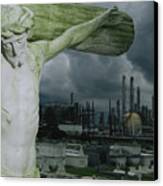 A Crucifixion Statue In A Cemetery Canvas Print