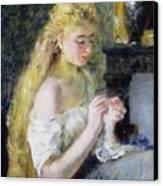 A Girl Crocheting Canvas Print by Pierre Auguste Renoir