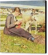A Girl Knitting Canvas Print