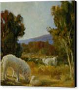 A Great Pyrenees With A Lamb Canvas Print