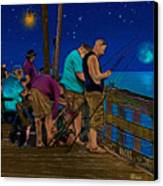 A Little Night Fishing At The Rodanthe Pier 2 Canvas Print by Anne Kitzman