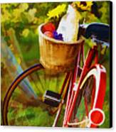 A Loaf Of Bread A Jug Of Wine And A Bike Canvas Print by Elaine Plesser