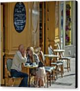 A Man A Woman A French Cafe Canvas Print by Allen Sheffield