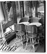 A Parisian Sidewalk Cafe In Black And White Canvas Print by Jennifer Holcombe