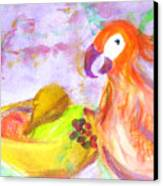 A Parrot And The Passion Fruit Canvas Print