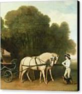 A Phaeton With A Pair Of Cream Ponies In The Charge Of A Stable-lad Canvas Print by George Stubbs