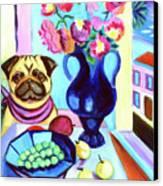 A Pug's Dinner At Henri's - Pug Canvas Print