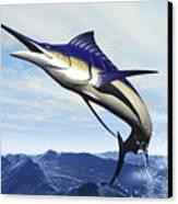 A Sleek Blue Marlin Bursts Canvas Print
