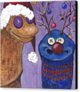 A Sock Puppet Christmas Canvas Print by Robin Wiesneth