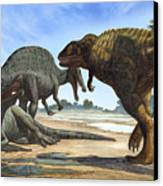 A Spinosaurus Blocks The Path Canvas Print by Sergey Krasovskiy