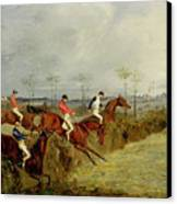 A Steeplechase - Taking A Hedge And Ditch  Canvas Print