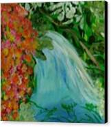 A Tropical Waterfall Canvas Print by Marie Bulger